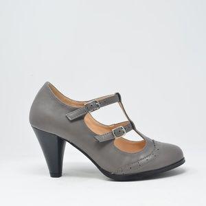 NEW Women's Double-Strap Mary Jane Pump Heels Gray